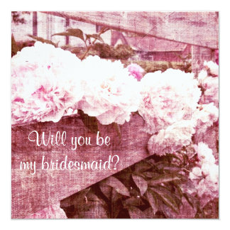 Romantic pink peonies bridesmaid request card
