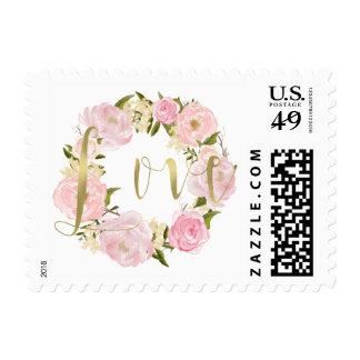 Romantic Pink Peonies Floral Gold Love Wedding Postage