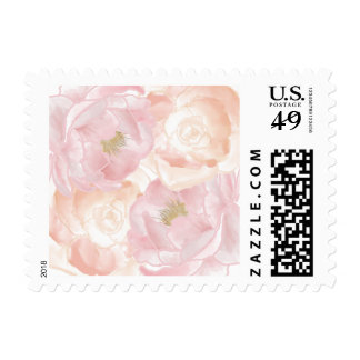Romantic Pink Peonies Floral Postage Stamp