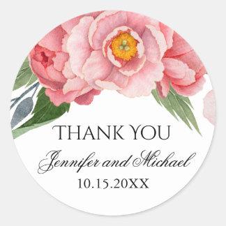 Romantic Pink Peonies Wedding Thank You Classic Round Sticker