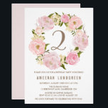 """Romantic Pink Peonies Wreath Birthday Party Card<br><div class=""""desc"""">Whimsical birthday invitation featuring watercolor illustrations of pink and blush roses and peonies. This will be perfect for spring and garden parties.</div>"""