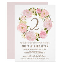 Romantic Pink Peonies Wreath Birthday Party Card