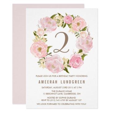 misstallulah Romantic Pink Peonies Wreath Birthday Party Card