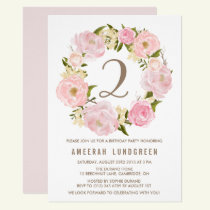 Romantic Pink Peonies Wreath Birthday Party Invitation