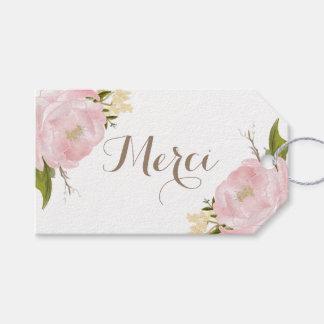 Romantic Pink Peonies Wreath Merci Thank You Gift Tags