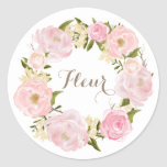 Romantic Pink Peonies Wreath Personalized Classic Round Sticker