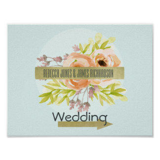 ROMANTIC PINK, PURPLE, FLORAL WEDDING DIRECTION POSTER