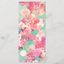 Romantic Pink Retro Floral Pattern Teal Polka Dots