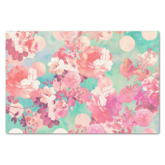 """Romantic Pink Retro Floral Pattern Teal Polka Dots 10"""" X 15"""" Tissue Paper"""