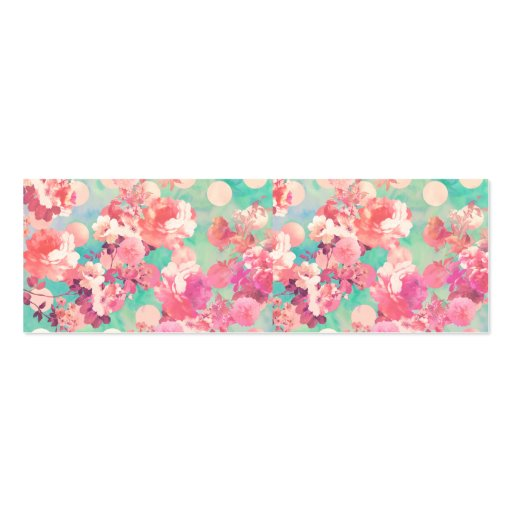 Romantic pink retro floral pattern teal polka dots for Polka dot business card templates free