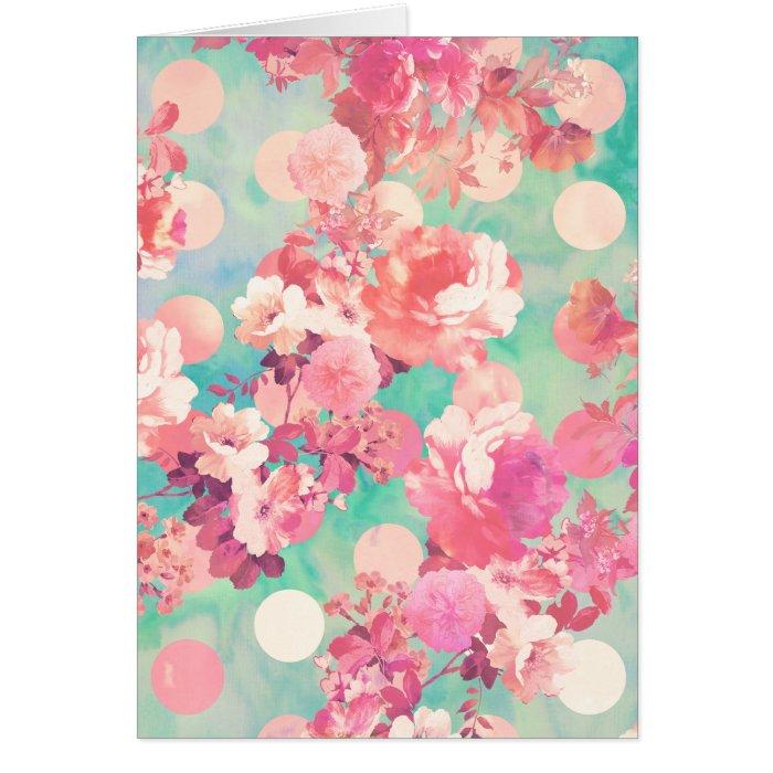 Romantic Pink Retro Floral Pattern Teal Polka Dots Card