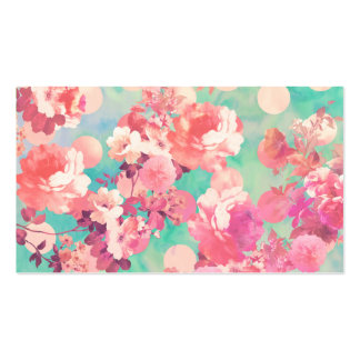 Romantic Pink Retro Floral Pattern Teal Polka Dots Double-Sided Standard Business Cards (Pack Of 100)
