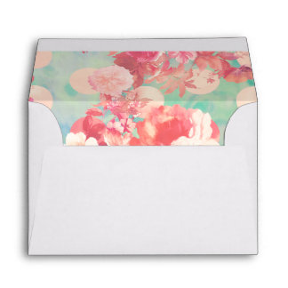 Romantic Pink Retro Floral Pattern Teal Polka Dots Envelope