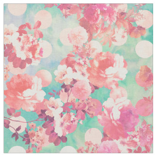 Romantic Pink Retro Floral Pattern Teal Polka Dots Fabric