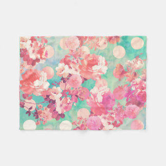 Romantic Pink Retro Floral Pattern Teal Polka Dots Fleece Blanket