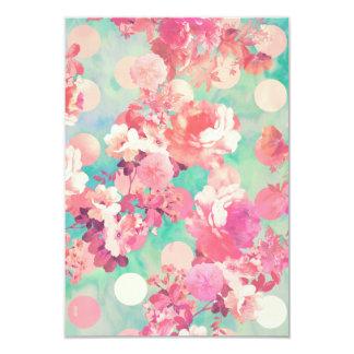Romantic Pink Retro Floral Pattern Teal Polka Dots 3.5x5 Paper Invitation Card