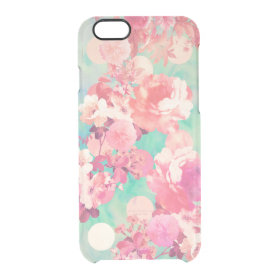 Romantic Pink Retro Floral Pattern Teal Polka Dots Uncommon Clearly™ Deflector iPhone 6 Case