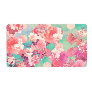 Romantic Pink Retro Floral Pattern Teal Polka Dots Label