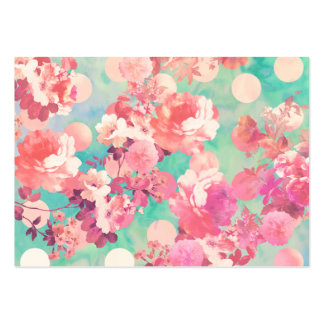 Romantic Pink Retro Floral Pattern Teal Polka Dots Large Business Cards (Pack Of 100)