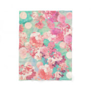 vintage girly Pink and teal blue Floral flower Pattern Fleece Blanket with polka dot design