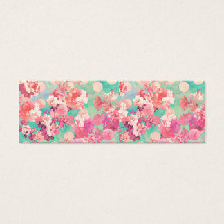 Romantic Pink Retro Floral Pattern Teal Polka Dots Mini Business Card