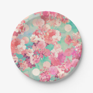 Romantic Pink Retro Floral Pattern Teal Polka Dots Paper Plate