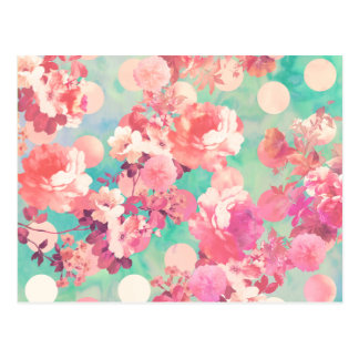 Romantic Pink Retro Floral Pattern Teal Polka Dots Postcard