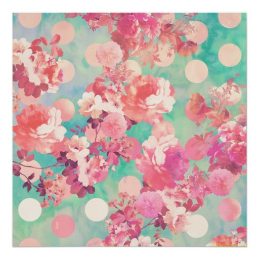 Romantic Pink Retro Floral Pattern Teal Polka Dots Poster