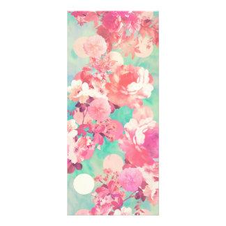 Romantic Pink Retro Floral Pattern Teal Polka Dots Rack Card