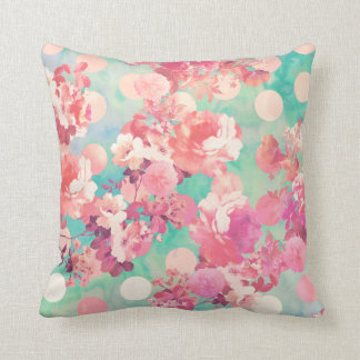 Romantic Pink Retro Floral Pattern Teal Polka Dots Throw Pillow