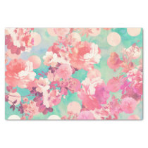 Romantic Pink Retro Floral Pattern Teal Polka Dots Tissue Paper