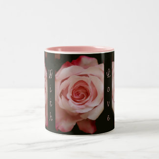 Romantic Pink Rose and Text mug