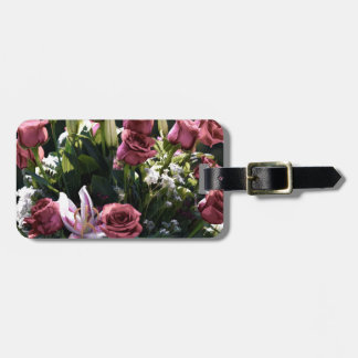 Romantic Pink Rose Bouquet Luggage Tag