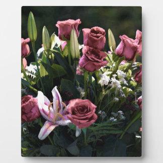 Romantic Pink Rose Bouquet Plaque