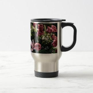 Romantic Pink Rose Bouquet Travel Mug