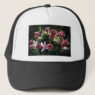 Romantic Pink Rose Bouquet Trucker Hat
