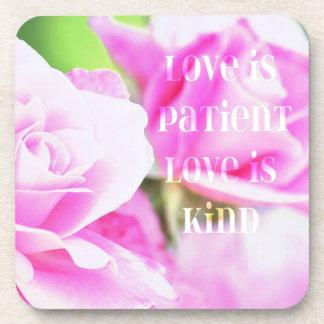 Romantic Pink Rose Floral Coaster