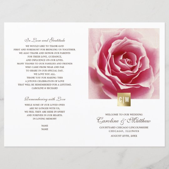 romantic pink rose gold foil wedding programs zazzle com