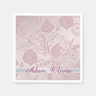 Romantic Pink Rose Lace Wedding Paper Napkin