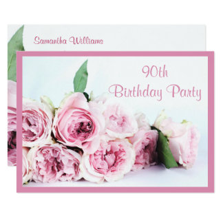 Romantic Pink Roses 90th Birthday Card