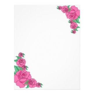 Romantic Pink Roses Customizable Stationary Letterhead