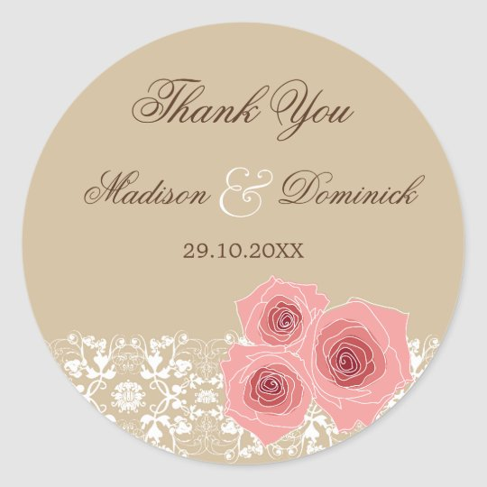 Romantic Pink Roses Damask Lace Wedding Sticker