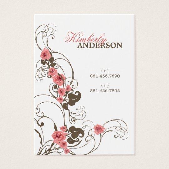 Romantic Pink Roses Fleur Elegant Profile Card
