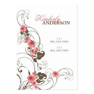 Romantic Pink Roses Fleur Elegant Profile Card Large Business Cards (Pack Of 100)