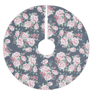 Romantic Pink Roses Floral Pattern Brushed Polyester Tree Skirt