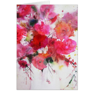 romantic pink roses happy birthday greeting card