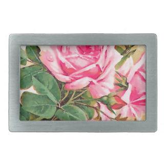Romantic Pink Roses Personalized Rectangular Belt Buckles