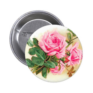 Romantic Pink Roses Personalized 2 Inch Round Button