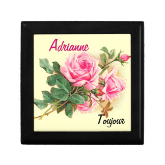 Romantic Pink Roses Personalized Jewelry Box