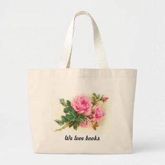 Romantic Pink Roses Personalized Jumbo Tote Bag